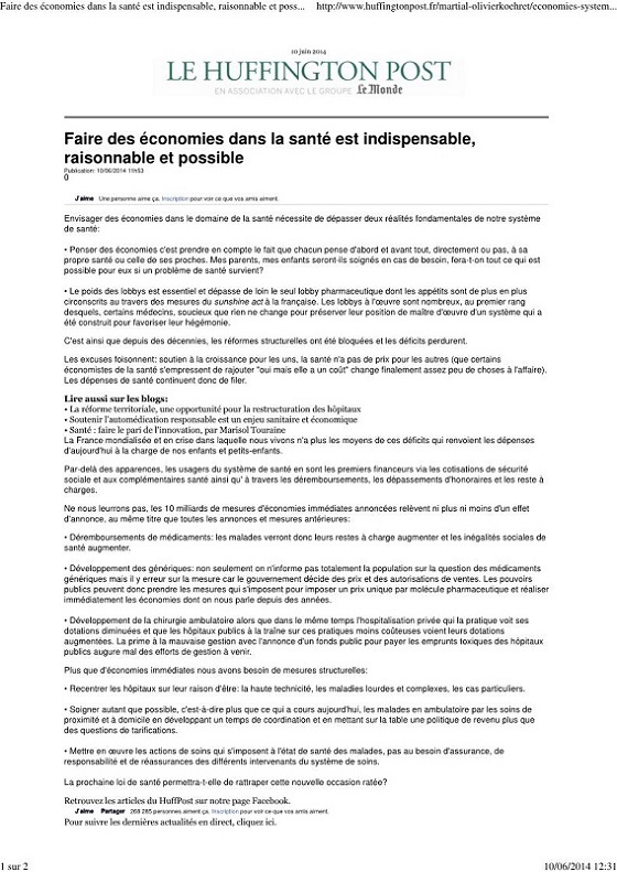 Faire des économies dans la santé est indispensable raisonnable et possible  Martial Olivier-Koehret_Page_1