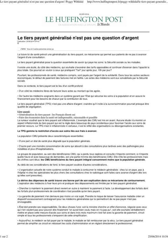 Le tiers payant généralisé n'est pas qu'une question d'argent_Tribune_25juin14_Page_1