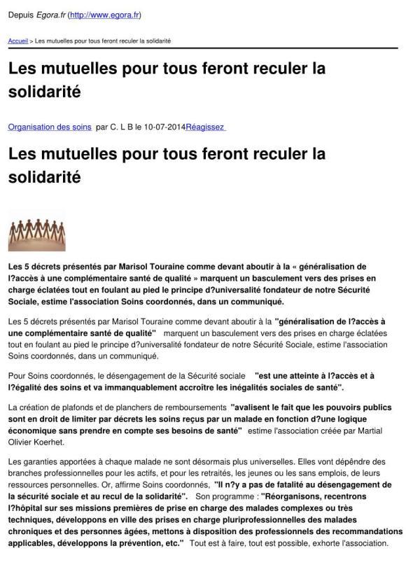 Egora.fr - Les mutuelles pour tous feront reculer la solidarité - 2014-07-09_Page_1